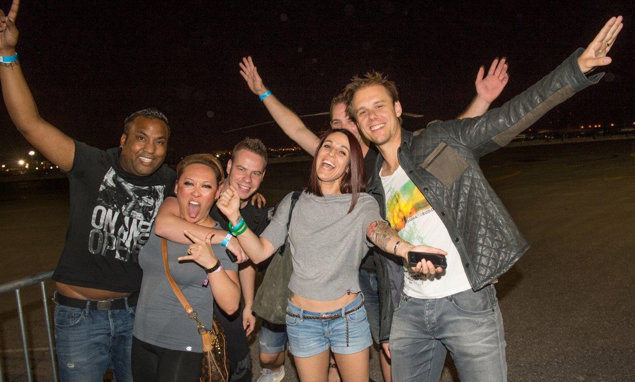 Armin van Buuren and crew (plus Andrea from Hakkasan) at EDC Vegas helipad EDM Jobs